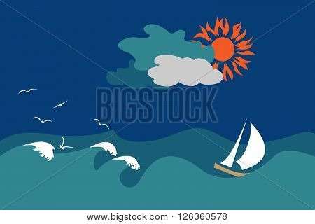 Seascape with a sail in windy weather