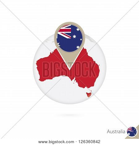 Australia Map And Flag In Circle. Map Of Australia, Australia Flag Pin. Map Of Australia In The Styl