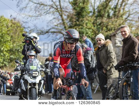 Conflans-Sainte-Honorine, France-March 6, 2016: The Belgian cyclist Philippe Gilbert of BMC Racing Team riding during the prologue stage of Paris-Nice 2016.