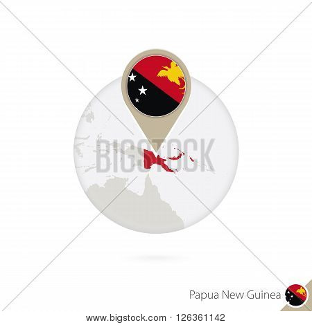 Papua New Guinea Map And Flag In Circle. Map Of Papua New Guinea, Papua New Guinea Flag Pin. Map Of