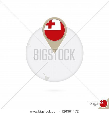Tonga Map And Flag In Circle. Map Of Tonga, Tonga Flag Pin. Map Of Tonga In The Style Of The Globe.