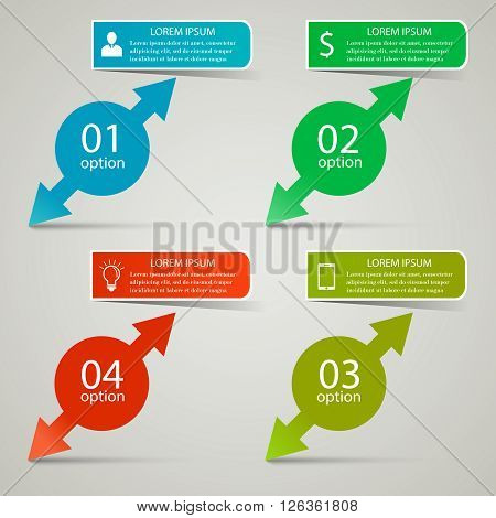 Infographic business concept. Four cirles with arrows and infographic text banner above them