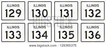 Collection Of Illinois Route Shields Used In The United States