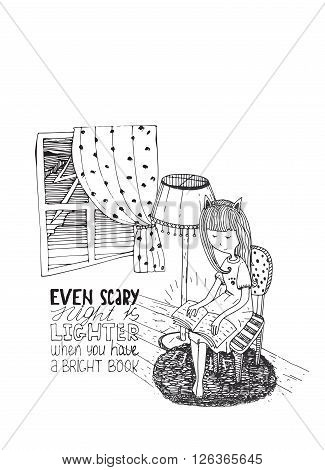 Girl reading book in stormy night. Vector hand drawn illustration made with ink and white paper. Isolated on white with simple motivating educational lettering quote perfect for bookstore or library.