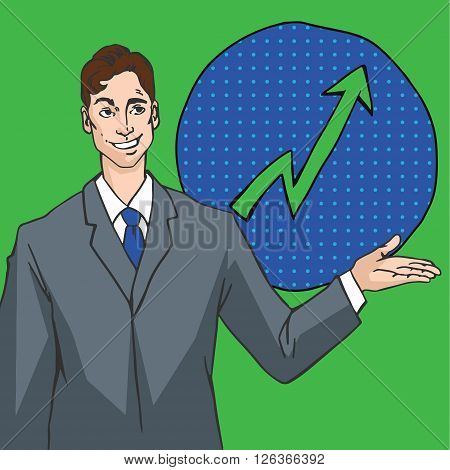 Vector image in pop art style with man showing arrow up, success