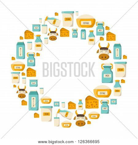 Vector milk products background. Lactose intolerant. Milk intolerance. Organic diet milk products. Lactose intolerant concept. Milk protein illustration. Healthy fresh organic farm milk production