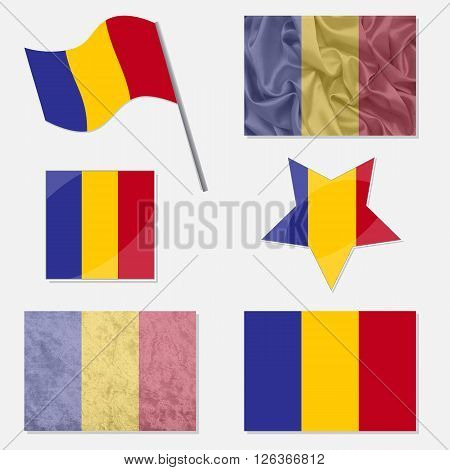 Flags of Romania Made in Different Variations: in Flat Design with Fabric Texture and as Web Buttons