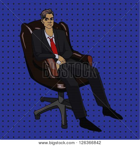 Vector image in pop art style with boss man in office chair