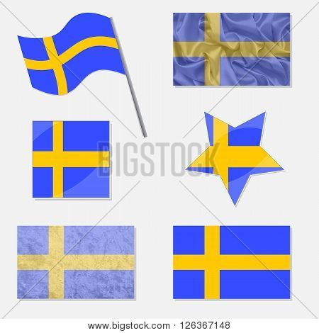 Flags of Sweden Made in Different Variations: in Flat Design with Fabric Texture and as Web Buttons
