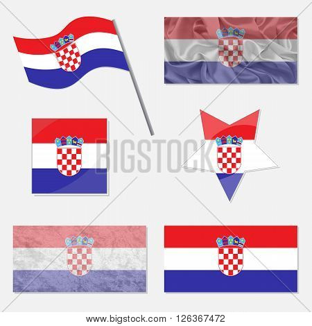 Flags of Croatia Made in Different Variations: in Flat Design with Fabric Texture and as Web Buttons