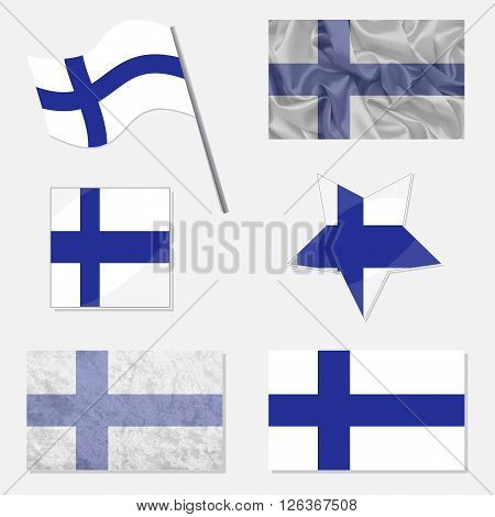 Flags of Finland Made in Different Variations: in Flat Design with Fabric Texture and as Web Buttons