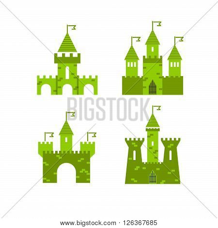 Castle vector set. Castle tower vector logo. Castle turret with flag. History castle architecture illustration. Princess castle sign. Castle behind the wall.