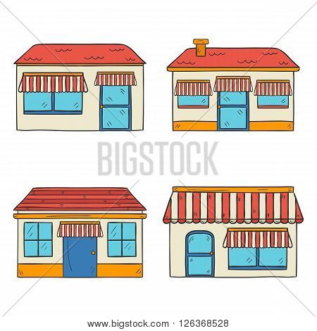 Vector illustration with store front view. Hand drawn cartoon store front view. Outdoor store house. Street architecture with store front view. Store facade design with shop window and door