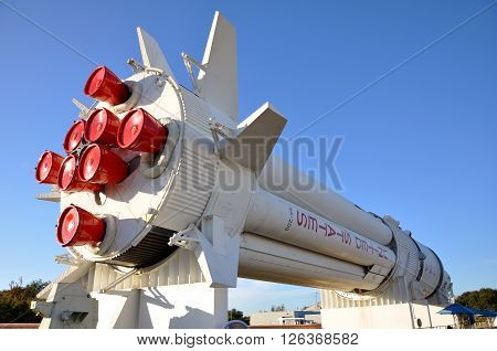 FLORIDA, USA - DEC 20: Saturn V rocket model in Kennedy Space Center Visitor Complex on Dec. 20, 2010 in Cape Canaveral, Florida, USA.
