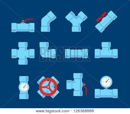 Pipe fitting vector set. Pipeline vector illustration. Pipe fitting for repair home. Gas pipe. Water pipe set. Sewerage vector illustration. Water drain or drainage system