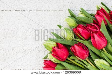 White And Red Tulips On White Tablecloth. Bouquet, Top View, Copy Space, Holiday Background