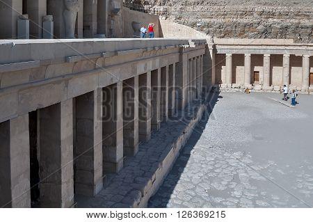Luxor, Egypt - November 13. 2006: Hatshepsut temple in queen valley