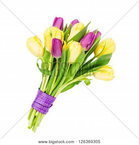 Bouquet Of Yellow And Pink Tulips Decorated With Ribbon, Isolated Over White Background