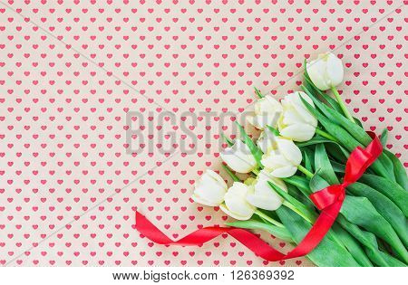 Bouquet Of White Tulips On Hearts Backgrounds. Copy Space, Holiday Background