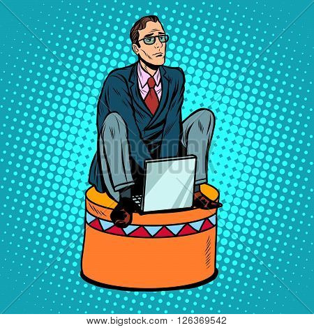 Businessman worker on a circus pedestal pop art retro style. The business concept submission, subordination, team work