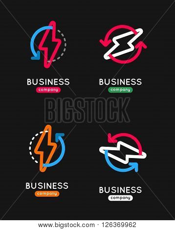 Thunderbolt vector icon set. Thunderbolt business logo. Thunderbolt company icon. Thunderbolt outline design icon. Thunderbolt vector set