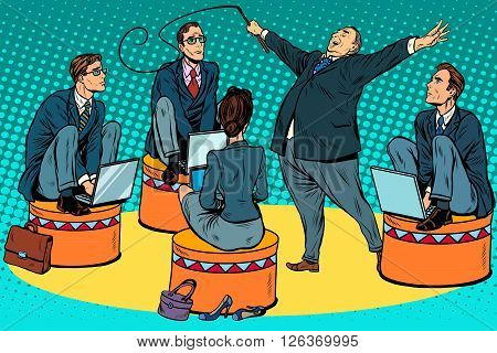 Boss businessmen trainer at the circus pop art retro style. The business concept of the circus and teamwork. Power in politics