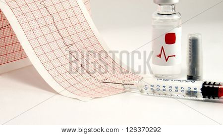 Syringe and vial on electrocardiographSyringe and vial on electrocardiograph