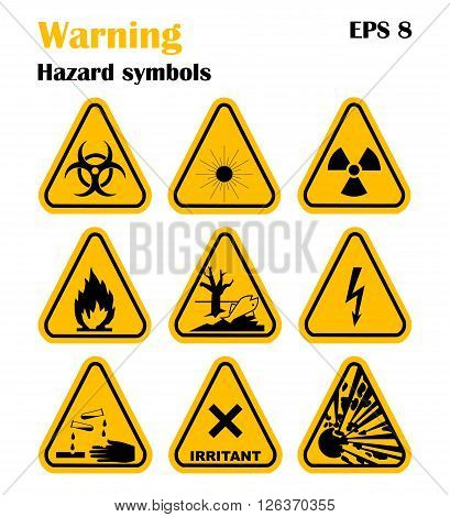 Warning Hazard Symbols. Set of vector icons. High voltage, toxic, caution, fire, laser radiation, radioactive, explosion, corrosive, irritant.