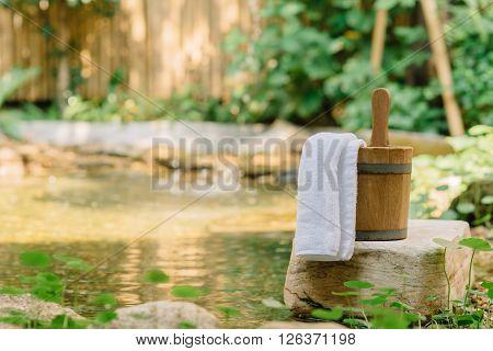 Onsen series : Wooden bucket in onsen