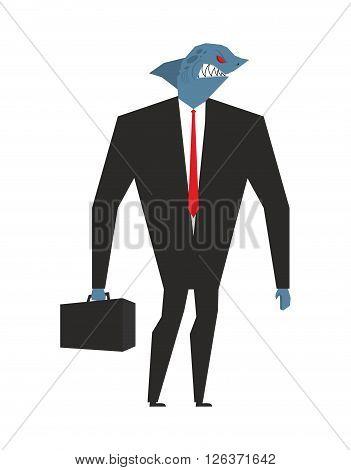 Business Shark. Businessman With Head Sea Predator. An Evil Predatory Fish In Business Suit. Deep An