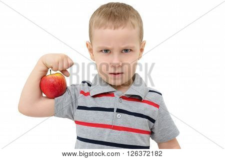 Strong Boy With Apple Isolated On White Background