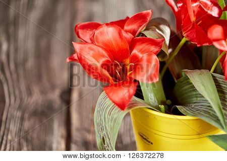 Red Tulips In A Yellow Flower Bucket