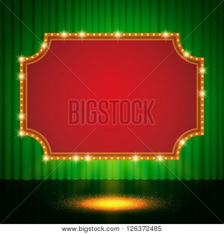 Shining Retro Casino Banner On Green Stage Curtain