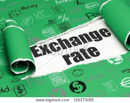 Currency concept: black text Exchange Rate under the piece of  torn paper