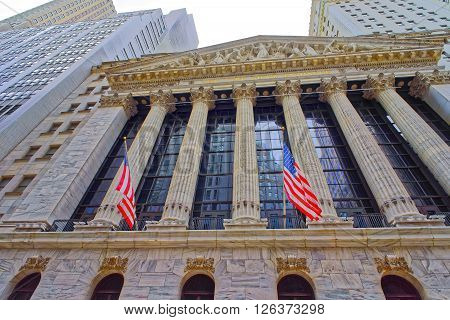 NEW YORK USA - APRIL 24 2015: New York Stock Exchange on Wall Street in Lower Manhattan USA. It is called NYSE in short.