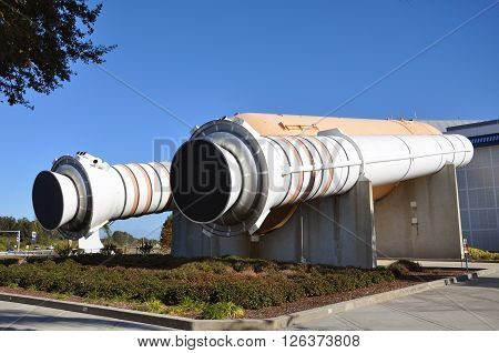 FLORIDA, USA - DEC 20: Space Shuttle Rockets, a life-size replica at Kennedy Space Center on Dec. 20, 2010 in Cape Canaveral, Florida, USA.