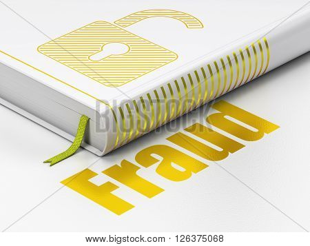Protection concept: book Opened Padlock, Fraud on white background