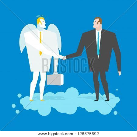 Deal With Angel. Businessman And Cherub Make Deal In Heavens. Archangel And Man Shaking Hands On Clo