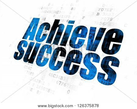 Finance concept: Achieve Success on Digital background