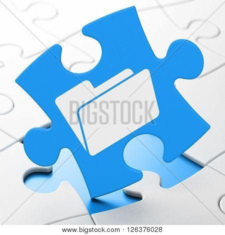 Business concept: Folder on puzzle background