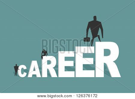 Career. Achieve Improve On Job. Businessman Goes To Spell. Winner In Work. Successful Promotion In O