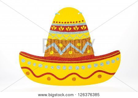 A sombrero hat decoration against a white background