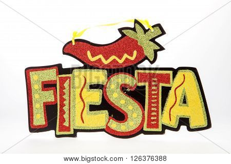 A fiesta sign for Cinco de Mayo against white background