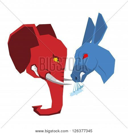 Elephant And Donkey. Republicans And Democrats Opposition. Political Debate In America. Illustration