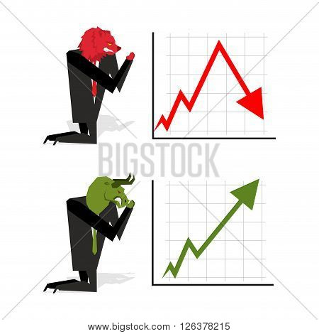 Bull And Bear Pray To Bet On Stock Exchange.green Up Arrow. Red Down Arrow. Worship Of Bull And Bear