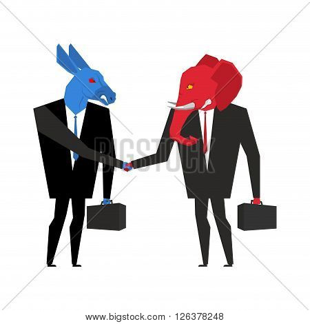 Transaction Elephant And Donkey. Democrats And Republicans Shake Hands. Handshake Of Businessmen. Ag