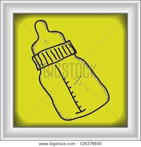 Simple Doodle Of A Babies Milk Bottle