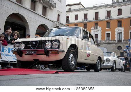 BRESCIA, ITALY - APRILE 17, 2016:500 Miglia. Finish. ALFA ROMEO GIULIA SUPER 1300, 1970 built