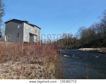 former mill building along the Genegantslet Creek Smithville Flats NY