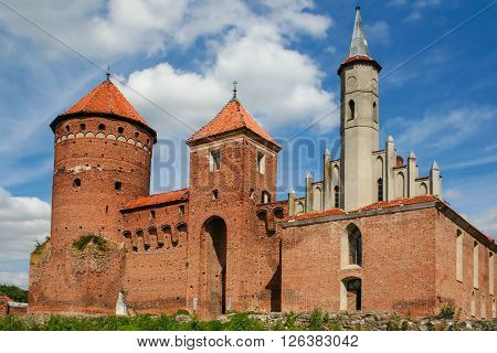 Reszel Poland - August 1 2009: Gothic Episcopal castle - built between 1350-1401 on a square plan with an inner courtyard and cloisters